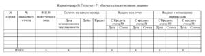 Журнал ордер по 71 счету бланк