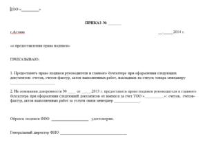 Приказ на право второй подписи главного бухгалтера образец