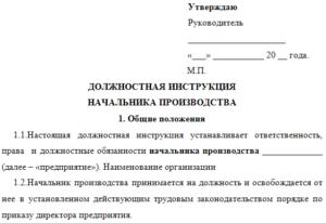 Должностная инструкция начальника монтажного отдела