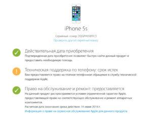 Гарантийный срок на айфон 5s