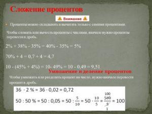 Как сложить проценты