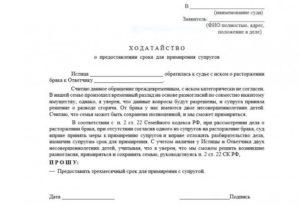 Заявление о сокращении срока примирения при разводе
