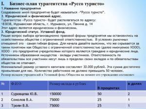 Бизнес план турфирмы образец с расчетами