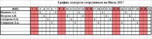 График дежурств 2 через 2 эксель