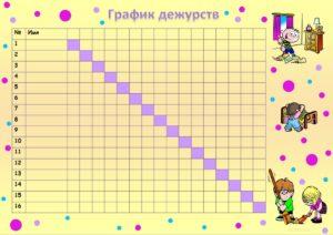 График дежурств на месяц образе