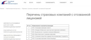 Рса список страховых компаний с отозванными лицензиями