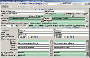 База данных загса