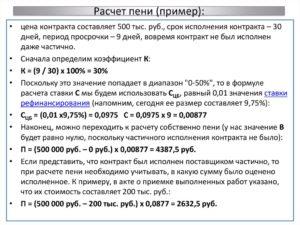 Расчет пени от этапов работ по 1063
