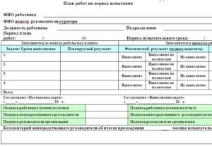 Индивидуальный план для работника с испытательным сроком
