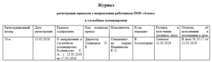 Журнал регистрации приказов на командировку образец
